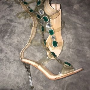 Gem Strap Up Heels Emerald & Silver